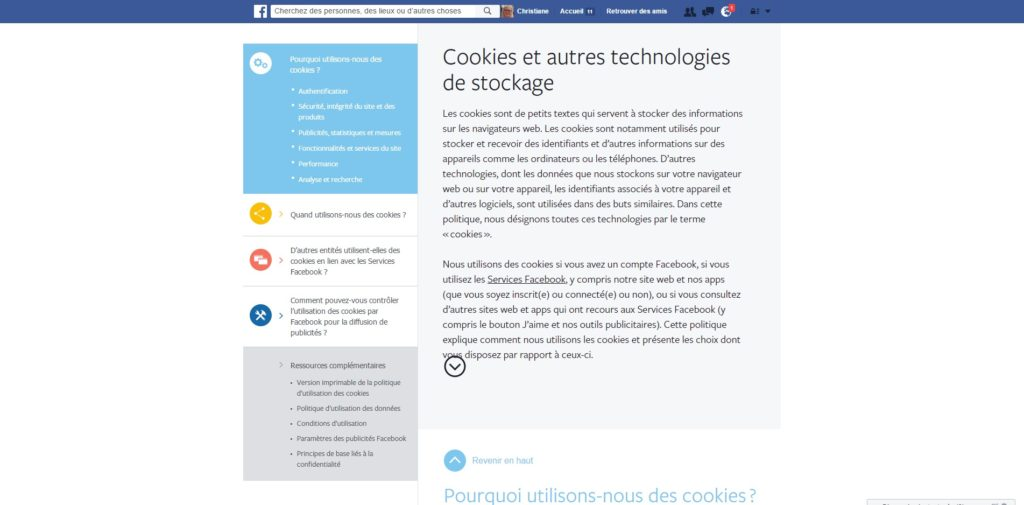Cookies Policy Facebook
