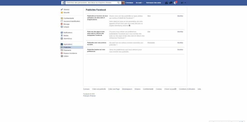 Opt-out Publicités Faceboo