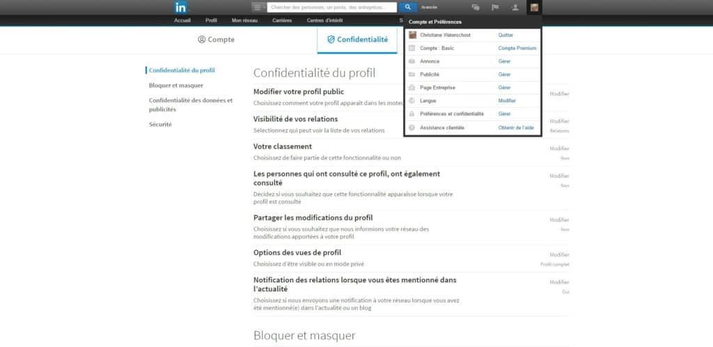 LinkedIn confidentialité du compte