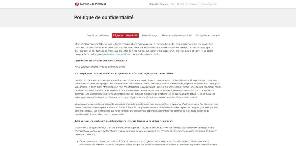 Politique de confidentialité Pinterest