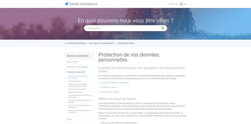 Protection de vos données personnelles Twitter