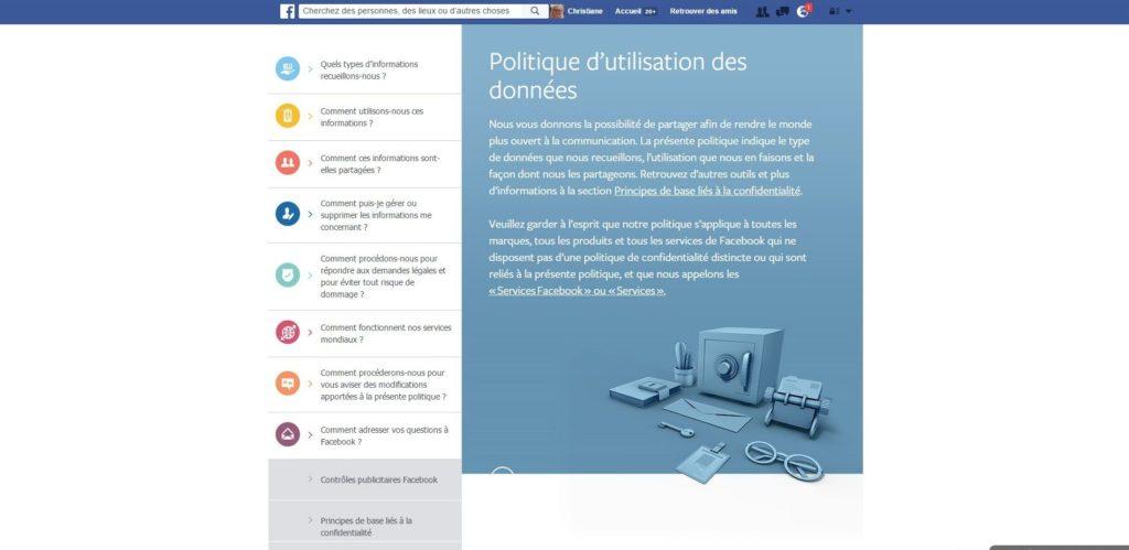 politique utilisation des données Facebook
