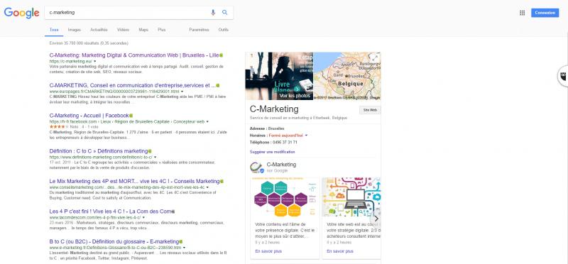 Google Posts - visibilité dans la page de résultats (SERP)